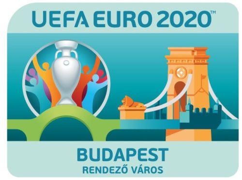 A 2020-as foci-eb budapesti logója - a főváros az egyik rendezőváros