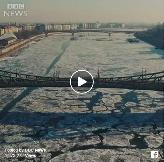 Gyönyörű videót készített a BBC a budapesti jeges Dunáról