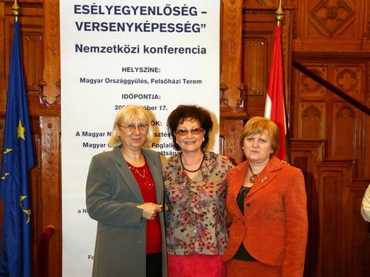 Nemzetközi konferencia a parlamentben. Középen Ferenczi Andrea, a rendezvény szervezője.