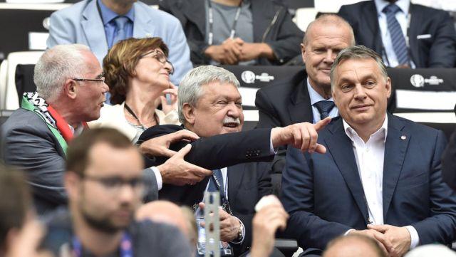 Balog Zoltán, emberi erőforrások miniszter, Csányi Sándor, MLSZ-elnök és Orbán Viktor