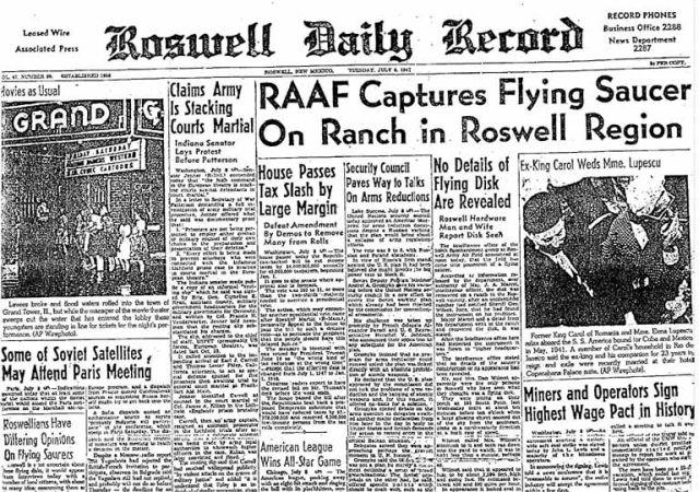 A Roswell Daily Record cikke egy repülő csészealj szerencsétlenségéről